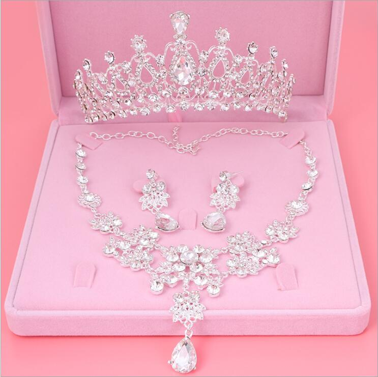 Womens Crystal Pearl Jewelry Hair Crown Headpiece Necklace Pendant Earrings Sets (10)