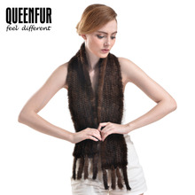QUEENFUR Genuine Knitted Mink Fur Scarves With Tassel 2016 New Elegant Real Mink Fur Scarf For Women Natural Fur Scarves