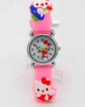 1PC New Silicone Pink Children Kids Girls Cute Hello Kitty 3D Cartoon Quartz Watches Gift