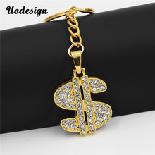 Uodesign Hip Hop Gold Crystal US Dollar Money Pendant Keychain Luxury KeyChain Jewelry Men Jewelry Accessories(China)