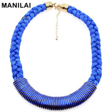 MANILAI All Handmade Fashion Collars Neon Color Threads Cross Metal Lint Wrap Knit Necklace High Quality Charm Jewelry CE1309