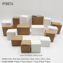 50pcs/lot Blank White Paperboard Craft Gift Boxes Kraft Paper Box for candy DIY handmade soap candle sample valve tubes package(China)