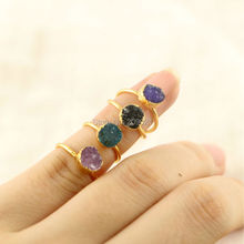 Lovely ~ 24k Gold Color Round Shape Druzy Drusy Stone Rings For Girls 8pcs/lot Jewelry Finding