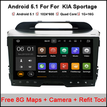 Pure Android 5.11 Quad Core Car DVD player for KIA sportage r/Sportage 2010 2014 2011 2012 2013 2015 radio BT car gps dvd player(China)
