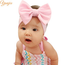 Infantile Girls Solid Cotton Bow Headband For Kids 2017 Elastic Hair Band Girls 5'' Big Hair Bows Headbands Hair Accessories(China)