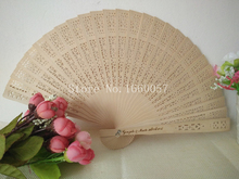 60pcs Wedding Favor Gift Personalized Sandalwood Cutout Fans Wood Color Hand Folding Fans +Customized Printing/Laser(China)