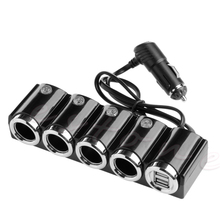 USB 4 Way Car Cigarette Lighter Socket Splitter Charger Power Adapter DC 12V-24V