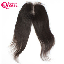 Dreaming Queen Hair Brazilian Remy Hair Straight Lace Closure With Baby Hair Bleached Knots 8 to 20 inch Natural Hairline