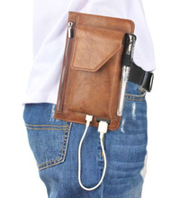 Hook Loop Man Belt Clip Zipper Card Pouch Dual Mobile Phone Leather Case For Ulefone Tiger Lite/Gemini Pro,VKworld G1 Giant