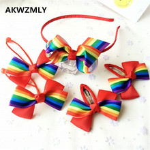 5Pcs/set Fashion Rainbow Hair Clip Flower Kids Hair Band Big Bow Handmade Headband Girls Children Ribbon Cloth Hair Accessories