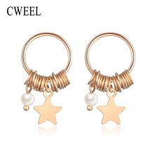 CWEEL Stud Earrings For Women Star Silver Earrings Sterling 925 Gold Color Wedding Statement Fashion Jewelry Earring(China)