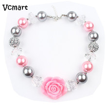 Vcmart 3Pcs Sweety Pink Rose Flower Girls Chunky Bubblegum Necklace For Kids Toddler Photo Prop Dress Up Jewelry Gift(China)