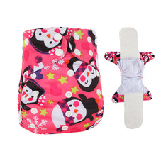 Merry Christmas Baby Modern Cloth Nappies Reusable Washable AIO diapers Cover with 2PCS Bamboo nappy liners
