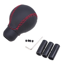 Car Styling Black Leather Round Ball With Red Thread Universal Truck Car Manual Transmission Gear Stick Shift Knob Shifter