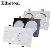 Led Built-in lighting double point light 3W 5W 7W 12W Anti-fog grille light led square ceiling spotlight Brushed downlight(China)