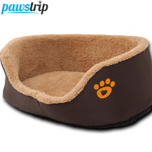 Paw Print Round Dog Sofa Bed Soft Fleece Warm Chihuahua Small Dog Beds S/M(China)