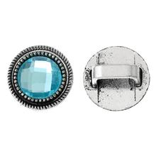 8SEASONS Spacer Slider Beads Round Lake Blue Antique Silver Faceted Glass Cabochons (Fit10mmx6mm Cord)About 18mm Dia,2 PCs(China)