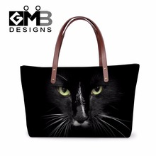 Cool Trendy Handbags for Women Work,Stylish Black Cat Printed over shoulder hand bags for Lady,Girls fashion tote bag,simple bag