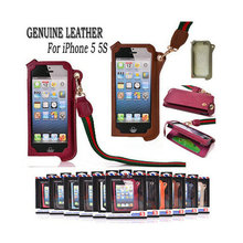 Neck Strap for iPhone 5 5S Case Rope Genuine Leather Pouch With Card Holder Fashion Design Durable for iPhone 5 5S Cover(China)