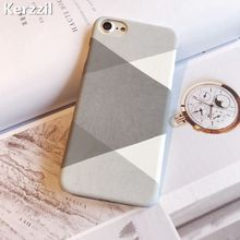 Fashion Geometry triangle Hard Decal PC Case For iPhone 7 6 6S Plus 5s SE Scrub Gray Phone Cover Back For iPhone 6 7 6S 5S Capa(China)