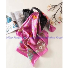 Floral Print 100% Silk Twill Scarf Hijab for Hair Wrapping Head Scarves Women Large Square Silk Scarfs Shawl Wraps 88x88cm