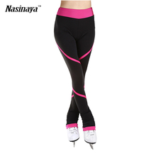 Customized Custome Ice Skating long pants Figure Skating Pants Trousers Fabric Adult Child Girl Clothing Performance Pink Stripe