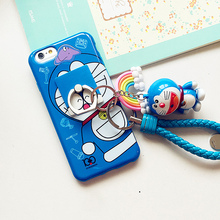 Coque For iPhone 7 8 Plus 6 6s Plus Case Cute 3D Doraemon Yellow Duck Capa Ring Stand Lanyard TPU Fitted case For iPhone 5 5s se(China)