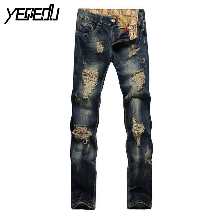 #2717 Straight jeans Mens jogger jeans Mens designer clothes Motorcycle Denim pants Punk Hip hop jeans men Destroyed brand jeansÎäåæäà è àêñåññóàðû<br><br>