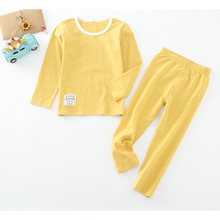 baby kids long johns cotton autumn and winter home wear stripe pyjamas fashion basic t-shirt girls clothes boys underwear sets