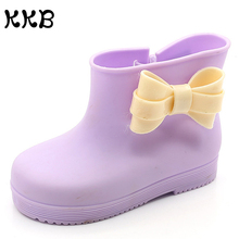 Rain Boots Kids Waterproof Mini Sed Bow Baby Girls Rainboots Rhino Crystal Jelly Rubber Boots Candy Color Non Slip Water Shoes