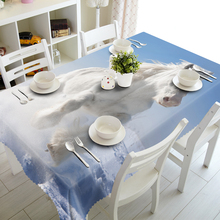 NEW 3D Tablecloths White Cloud Horse Printing Waterproof/oil-proof Washable Thicken Rectangle Dining Table Tea Table Cloth -T050
