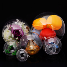 12pcs Christmas Tress Decorations Ball 6cm Transparent Open Plastic Clear Bauble Ornament Gift Present Box Decoration(China)