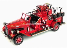 Handmade retro metal craft antique classical car model Mike fire trucks in the U.S for home/pub/Cafe decoration or gift