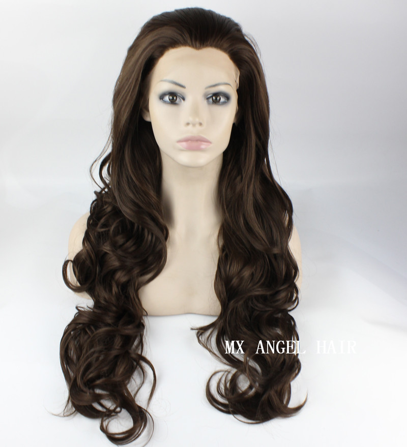 26inch Mix #6/8 Brown Wavy Stylish Synthetic Lace Front Wig Heat Resistant Hair Kanekalon Women Party Wigs<br><br>Aliexpress