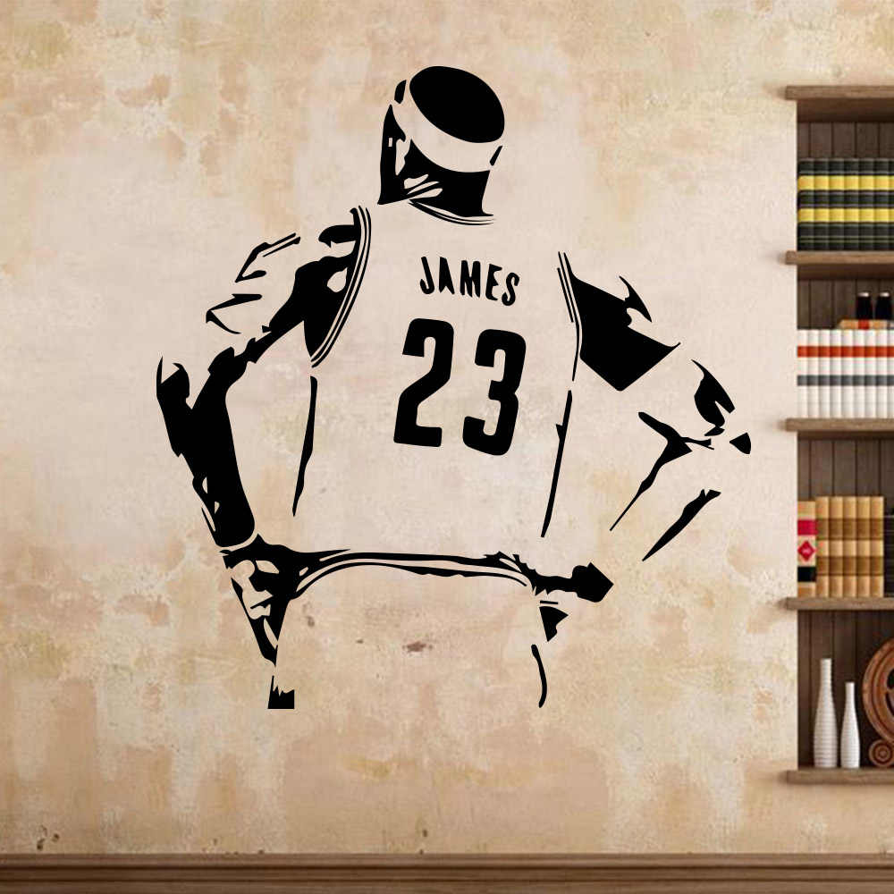 Basketball star lakers lebron james lbj wall sticker for kids room decoration vinyl self waterproof art