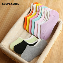 2017 summer low cut ped sock colorful Simple Invisible Asakuchi Thin socks Non-slip Silica gel Candy colors All-match shoes
