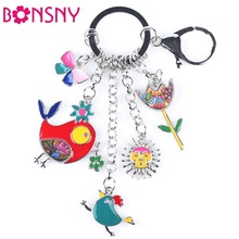 Bonsny 2016 Enamel Alloy Fish Chicken Marvel Alloy Key Chain For Women Girl Bag Keychain Charm Pendant Jewelry Aceessorie(China)