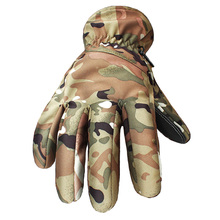 Winter Tactical Gloves Camouflage Genuine Leather Thicker Sports Combat Gear Glove Thick Full Finger Military Glove Waterproof(China)