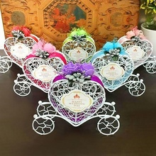 Metal Cute Cinderella Carriage Candy Chocolate Boxes Birthday Wedding Party Favour Decoration J2Y(China)