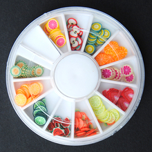 1 pcs Sumer Fruit Phone cases Nail Sticker Fimo cans clay Slices 12 color different Design pattern Nail Art Decoration Tools Kit