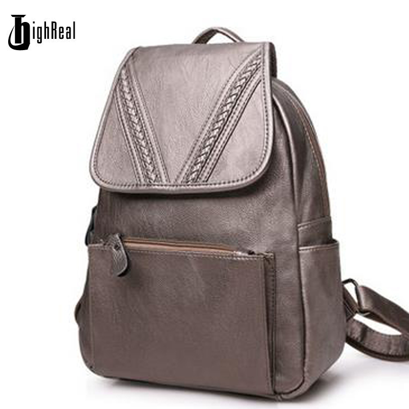 Fashion Korean Waterproof Genuine Leather Backpack Women Backpacks For Girls Daypack Female Large Red Rucksacks <br>