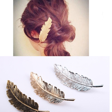 Korea New Fashion Metal Feather Hairpin Hair Clips Satement Hairpins Hairwear Accessories Women Jewelry