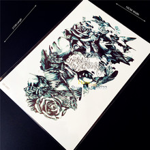 3D Large Size Sexy Roses Body Art Lower Arm Sleeve Tattoo Sticker Women, Men Armband Fake Spray Machinery Tattoo Totem