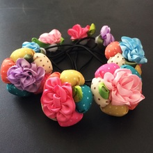 1 Pcs/lot Fashion Women Lady Girl Rose Flower Hairband Rope Scrunchie Nice Ponytail Holder Hair Band Accessories