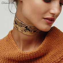 Dower Me Stylish Choker Summer Sexy Snake Skin Print Necklace Women Vintage PU Leather Wide Ribbon Choker Necklace Collier Femme