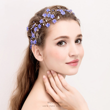 Lavender Flower Headband Princess Bridal Wedding Hairpieces Girls Prom Hair Accessory Headdress Gold Color Hair Jewelry Handmade