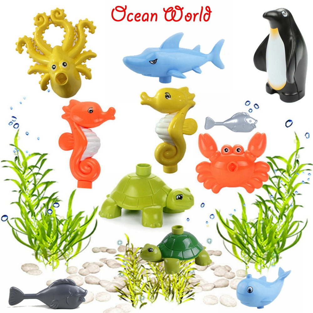Creator Duplo The Underwater World Castles Shark Dolphin Crab Whale Tortoise Sea Ocean Animals Figures Blocks Kids Toys Creators
