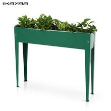iKayaa Metal Patio Elevated Garden Planter Box Flower Pot Garden Bed Vegetable Herb Vertical Planter Kits US DE Stock(China)