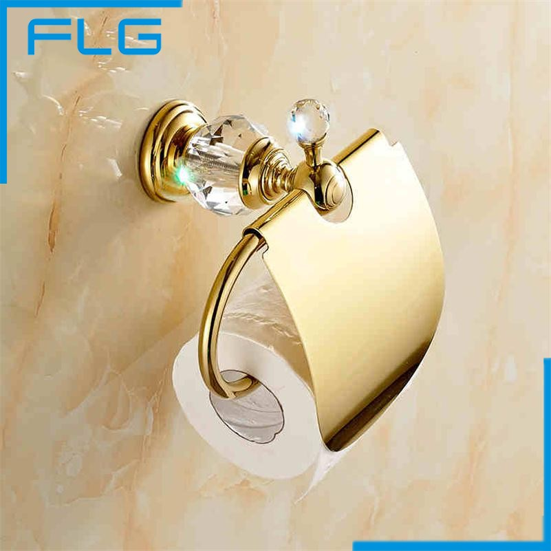 Peruzi Bathroom Luxury Crystal Gold Plated Paper Towel Rack Hardware Accessories European Toilet rack Tissue Box Freeshipping<br><br>Aliexpress