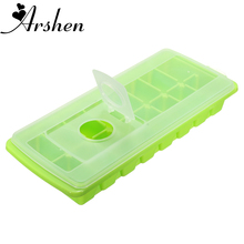 Arshen Kitchen Bar Ice Cube 16 Grids Ice Mould Tool Cool Freeze Mold Maker with Cover Making Tray For Water Party Summer